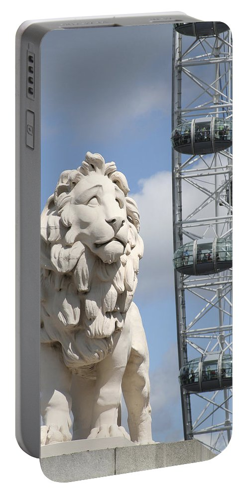 Lion Portable Battery Charger featuring the photograph Britannia Lion by Margie Wildblood