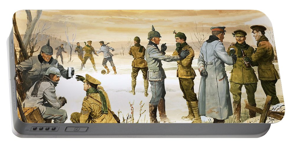 Truce Portable Battery Charger featuring the painting British And German Soldiers Hold A Christmas Truce During The Great War by Angus McBride