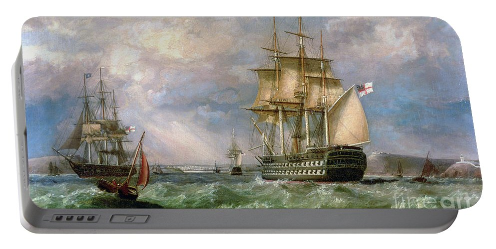 British Men-o'-war Sailing Into Cork Harbour Portable Battery Charger featuring the painting British Men-o'-war Sailing Into Cork Harbour by George Mounsey Wheatley Atkinson