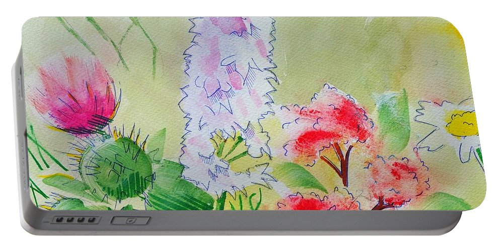 Flowers Portable Battery Charger featuring the painting British Wild Flowers by Mike Jory