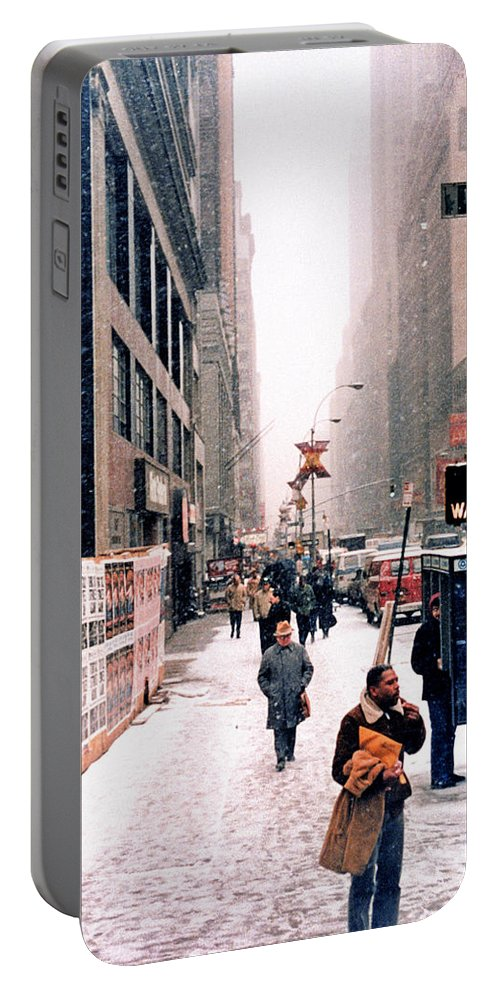 Broadway Portable Battery Charger featuring the photograph Broadway And 42nd Street 1985 by Robert Meyers-Lussier