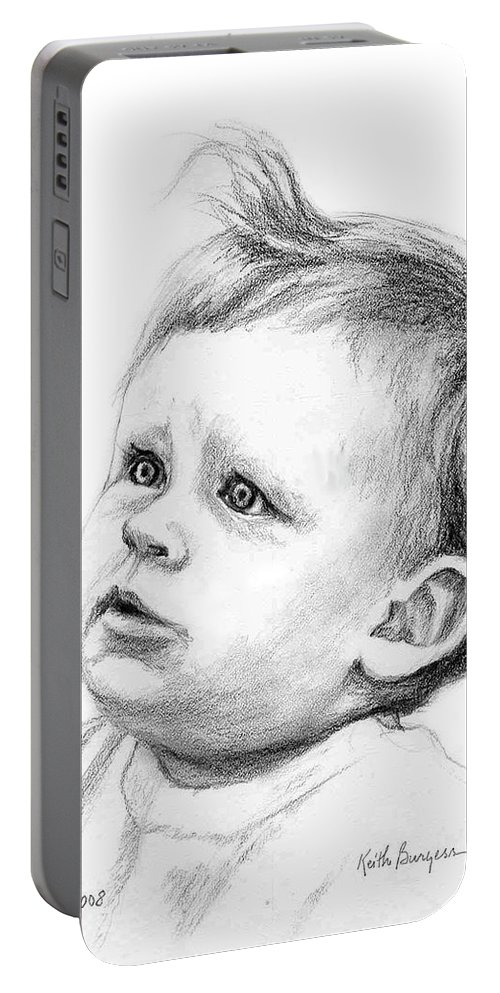 Portrait Portable Battery Charger featuring the drawing Brodi by Keith Burgess