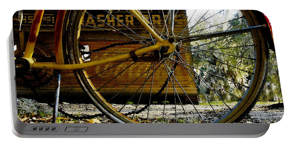 Micanopy Florida Portable Battery Charger featuring the painting Broken Bicycle by David Lee Thompson