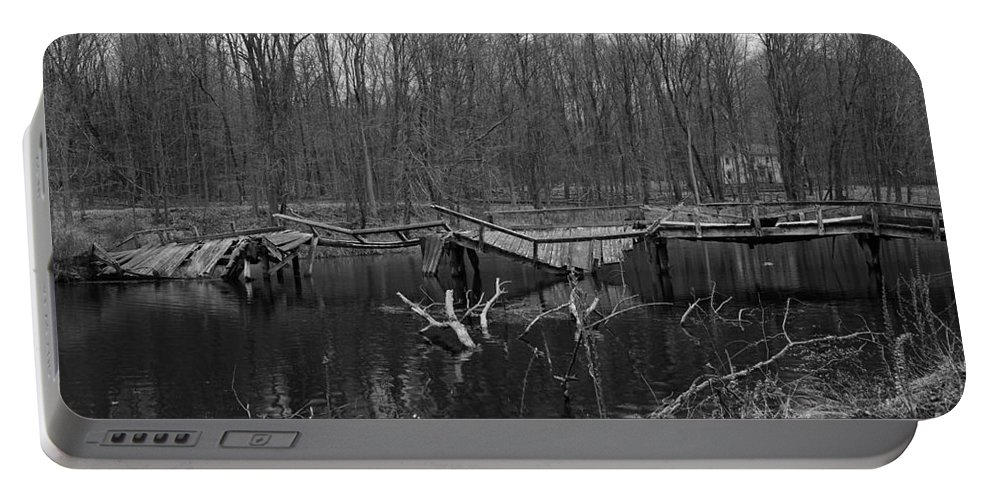 Paul Ward Portable Battery Charger featuring the photograph Broken Bridges In Black And White by Paul Ward