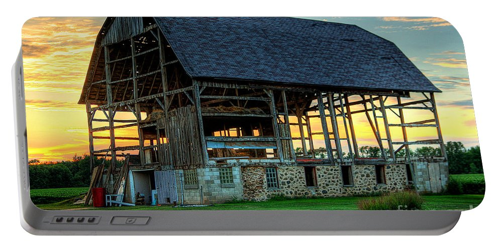 Barn Portable Battery Charger featuring the photograph Broken But Beautiful by Joel Witmeyer
