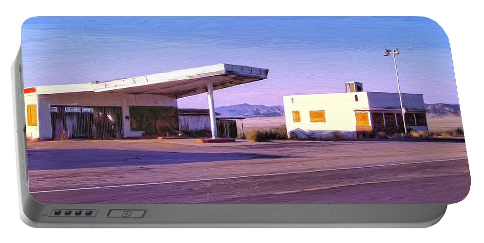 Old Gas Station Portable Battery Charger featuring the painting Broken Dreams by Dominic Piperata