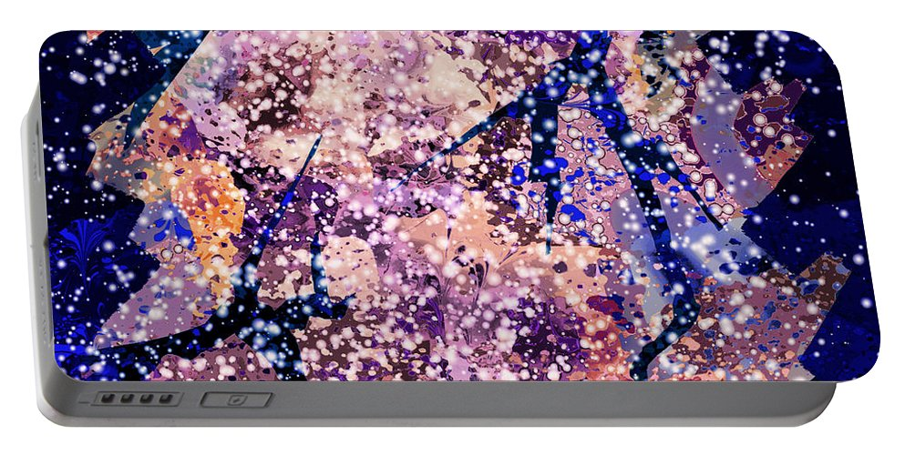Abstract Portable Battery Charger featuring the digital art Broken Glass And A Snowstorm by Rachel Christine Nowicki