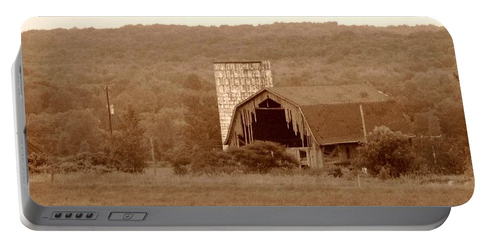 Barn Portable Battery Charger featuring the photograph Broken by Rhonda Barrett