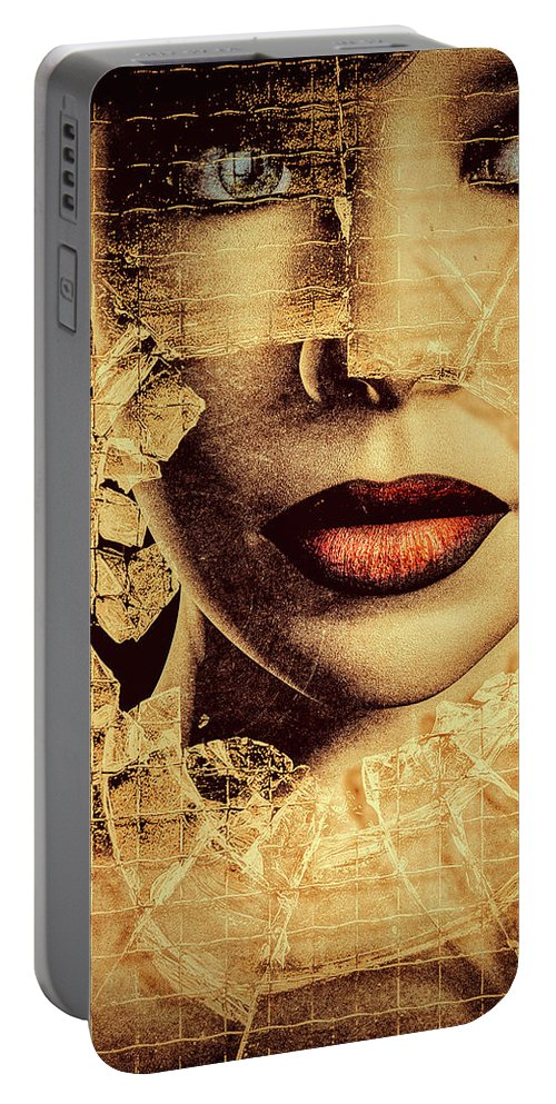 Woman Portable Battery Charger featuring the photograph Broken Window by Bob Orsillo
