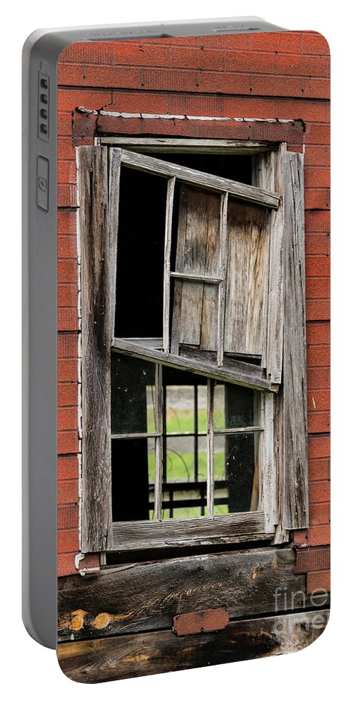 New Castle Portable Battery Charger featuring the photograph Broken Window Frame by Bob Phillips