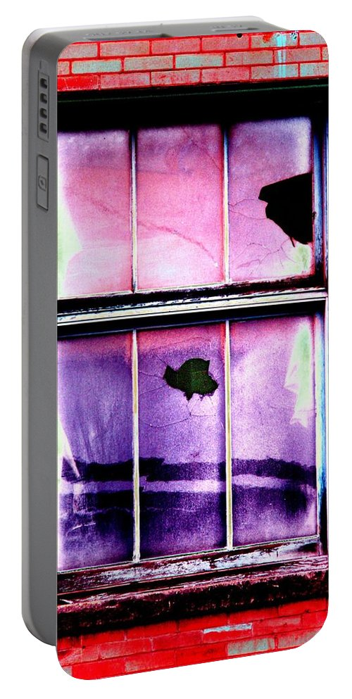 Window Portable Battery Charger featuring the photograph Broken Window by Tim Allen