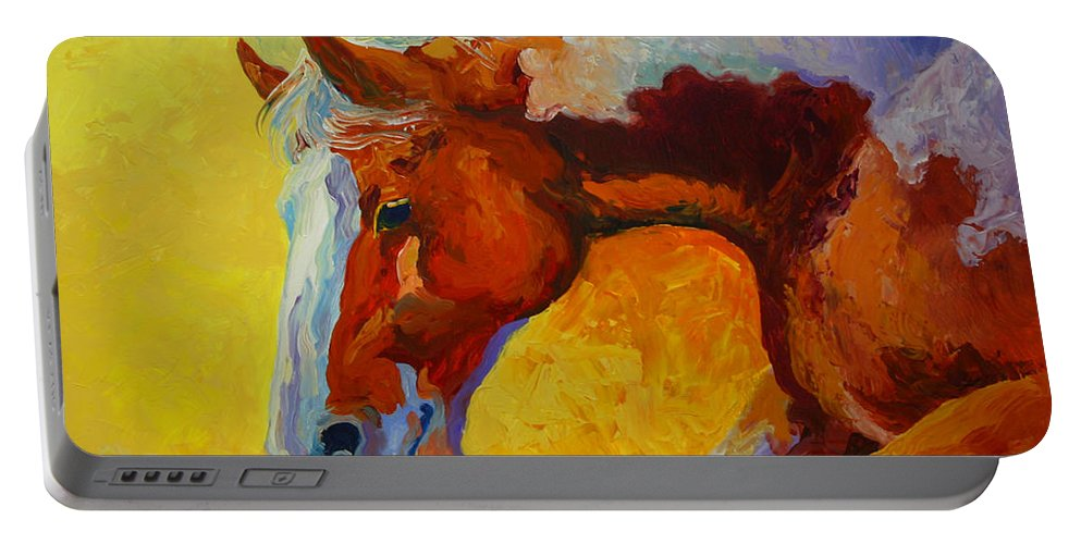 Western Portable Battery Charger featuring the painting Bronc I by Marion Rose