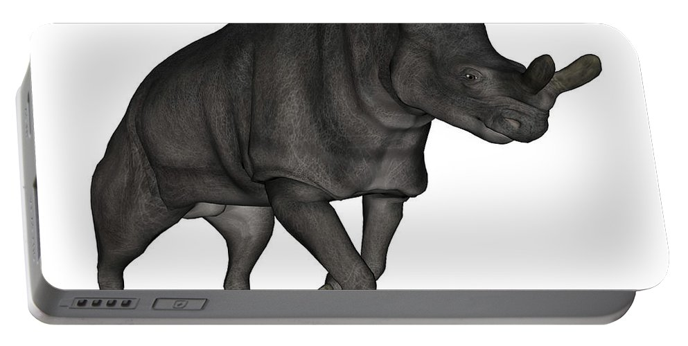 Brontotherium Portable Battery Charger featuring the digital art Brontotherium Isolated On White by Elena Duvernay