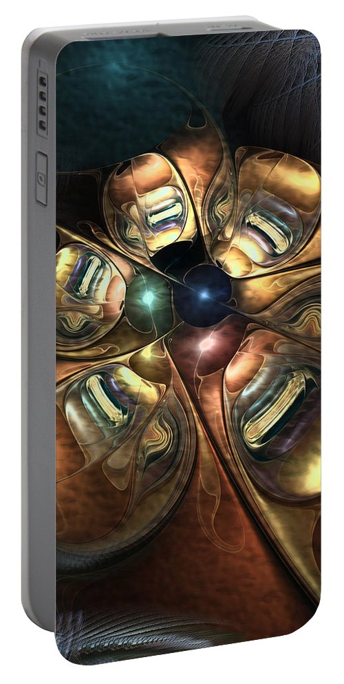 Abstract Portable Battery Charger featuring the digital art Bronze Age Ballet by Casey Kotas