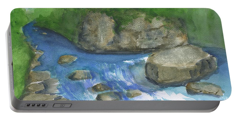 Brook Stream In Alaska Portable Battery Charger featuring the painting Brook And Stream by Frank Bright