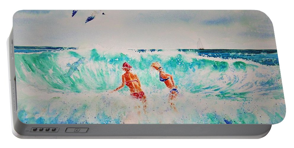 Surf Portable Battery Charger featuring the painting Brooke And Carey In The Shore Break by Tom Harris