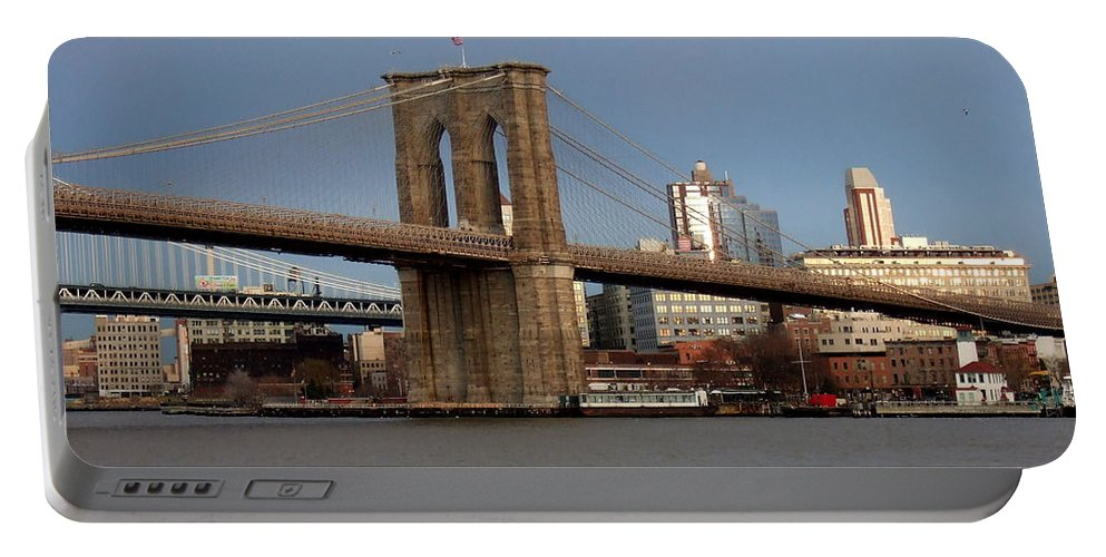 Brooklyn Bridge Portable Battery Charger featuring the photograph Brooklyn Bridge by Anita Burgermeister