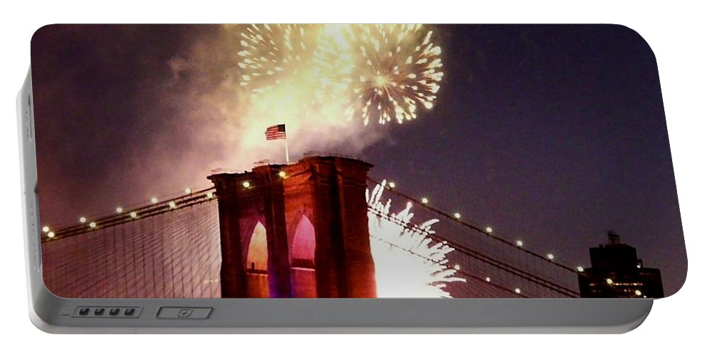 Brooklyn-bridge Portable Battery Charger featuring the photograph Brooklyn Bridge Celebration by Kendall Eutemey