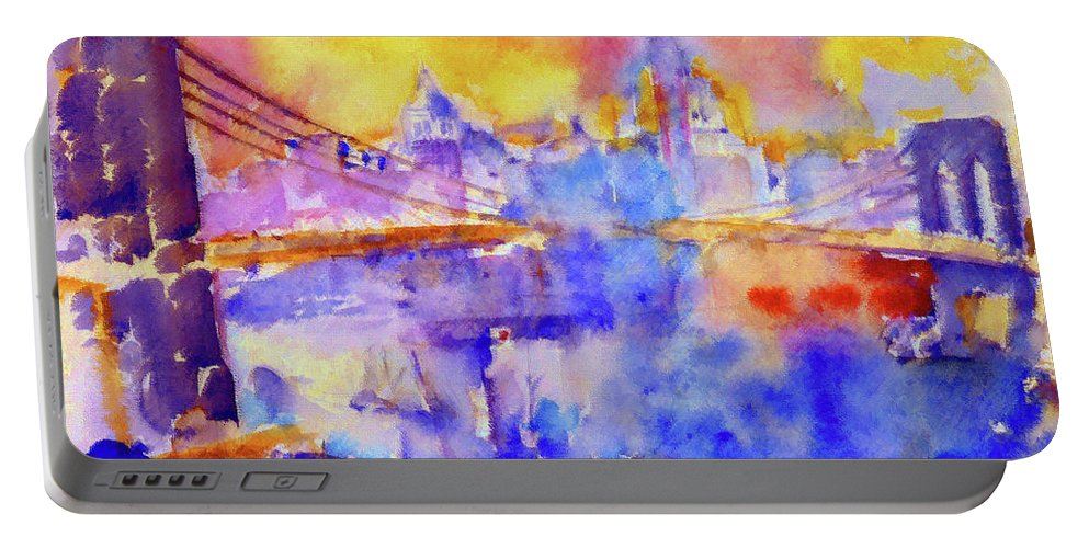 New York Portable Battery Charger featuring the painting Brooklyn Bridge by D Fessenden