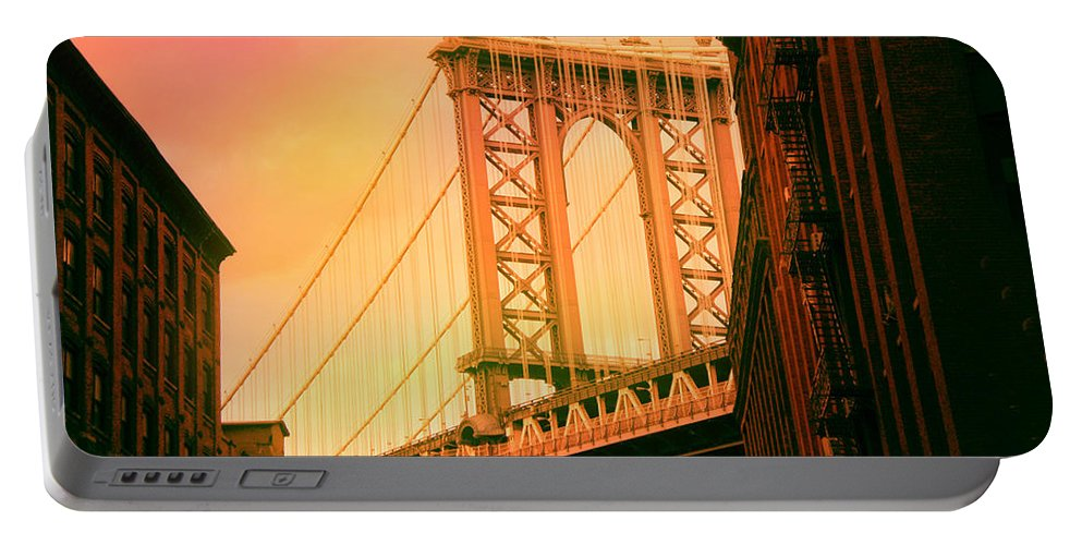 Suspension Bridge Portable Battery Charger featuring the digital art Brooklyn Bridge by James Mingo