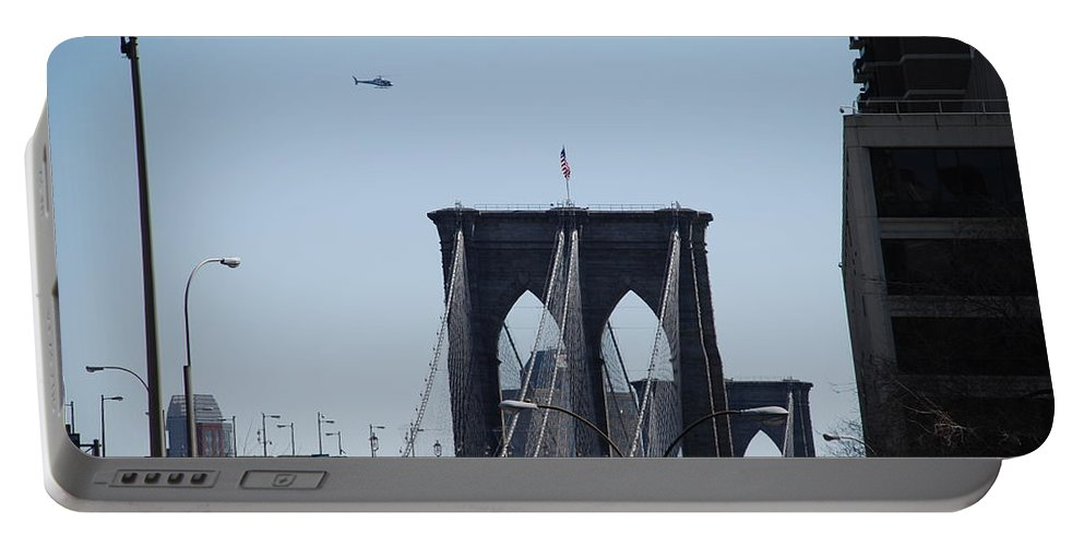 Architecture Portable Battery Charger featuring the photograph Brooklyn Bridge by Rob Hans