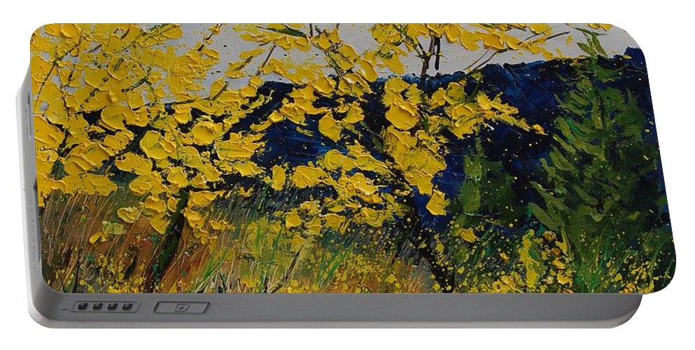 Flowers Portable Battery Charger featuring the painting Brooms by Pol Ledent