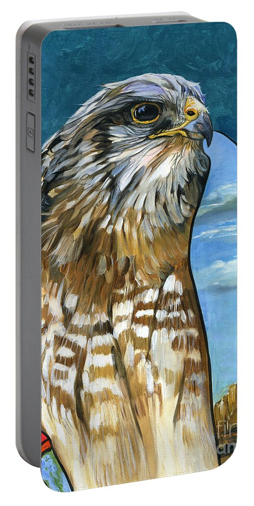 Hawk Portable Battery Charger featuring the painting Brother Hawk by J W Baker