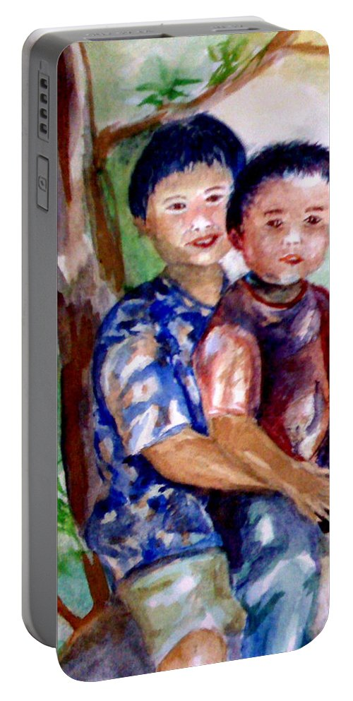 Brothers Portable Battery Charger featuring the painting Brothers Bonding by Matthew Doronila