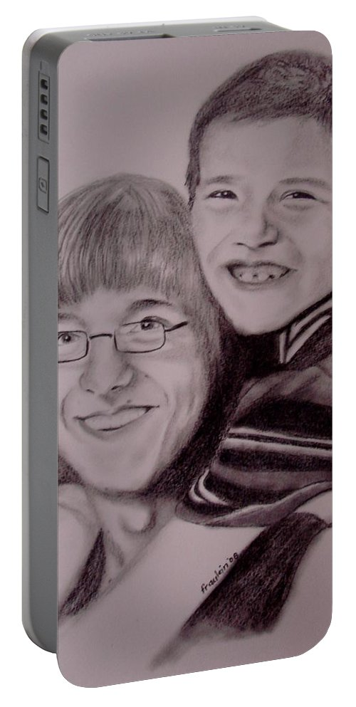 Portrait Portable Battery Charger featuring the drawing Brothers For Life by Glory Fraulein Wolfe
