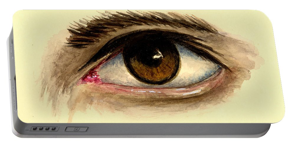 Eye Portable Battery Charger featuring the painting Brown Eye by Michael Vigliotti