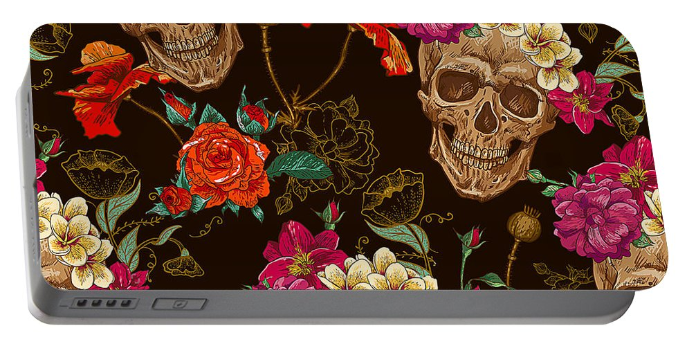 Brown Portable Battery Charger featuring the digital art Brown Skulls And Flowers by Long Shot