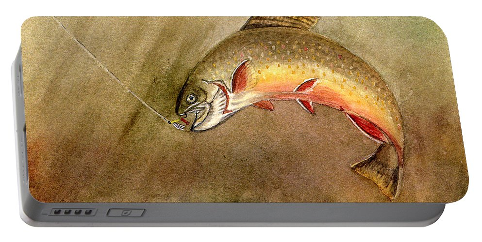 Trout Portable Battery Charger featuring the painting Brown Trout by Mary Tuomi