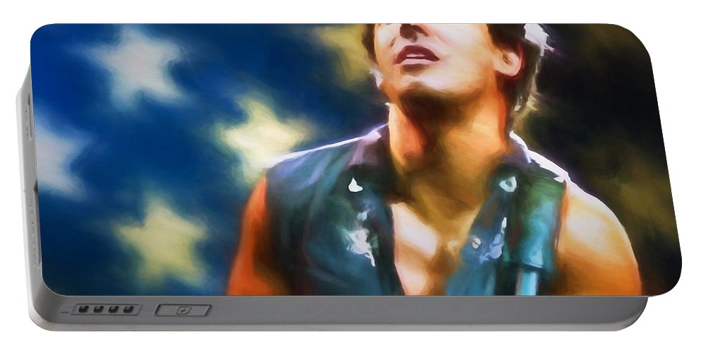 Bruce Springsteen Americana Portable Battery Charger featuring the painting Bruce Springsteen Americana by Dan Sproul