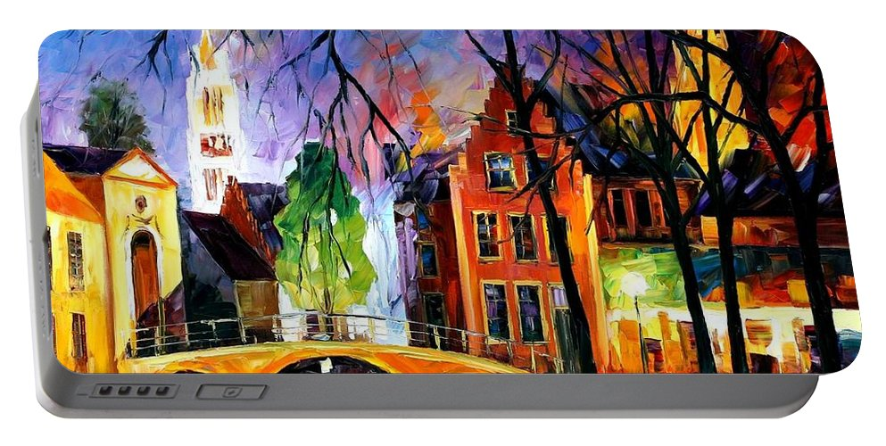 Afremov Portable Battery Charger featuring the painting Bruges Belgium by Leonid Afremov