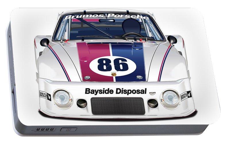 Peter Gregg Portable Battery Charger featuring the digital art Brumos Porsche 935 Illustration by Alain Jamar