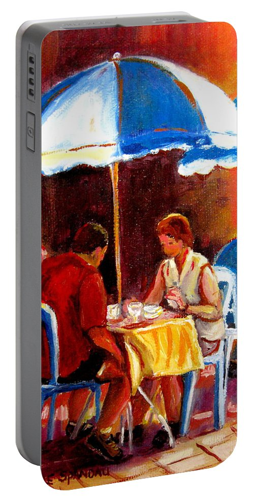 Brunch At The Ritz Portable Battery Charger featuring the painting Brunch At The Ritz by Carole Spandau