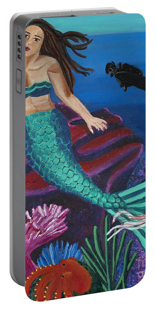 Brunette Portable Battery Charger featuring the painting Brunette Mermaid With Turquoise Tail by Ashley Baldwin