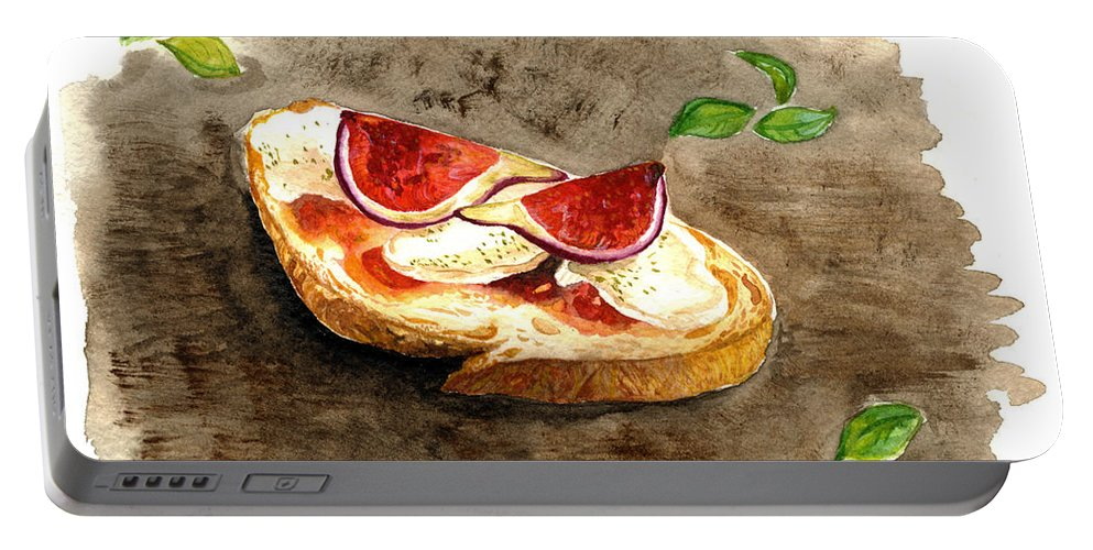 Food Portable Battery Charger featuring the painting Bruschette Con Fichi by Kseniya Lisitsyna