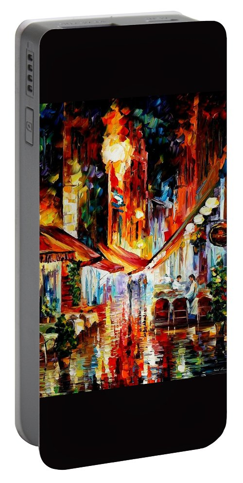 Afremov Portable Battery Charger featuring the painting Brussels - Before The Night Starts by Leonid Afremov