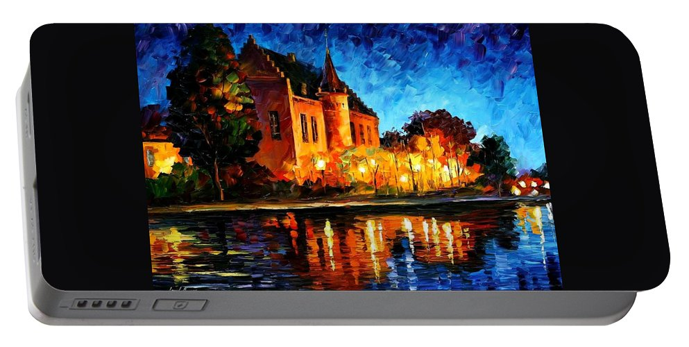 Afremov Portable Battery Charger featuring the painting Brussels - Castle Saventem by Leonid Afremov