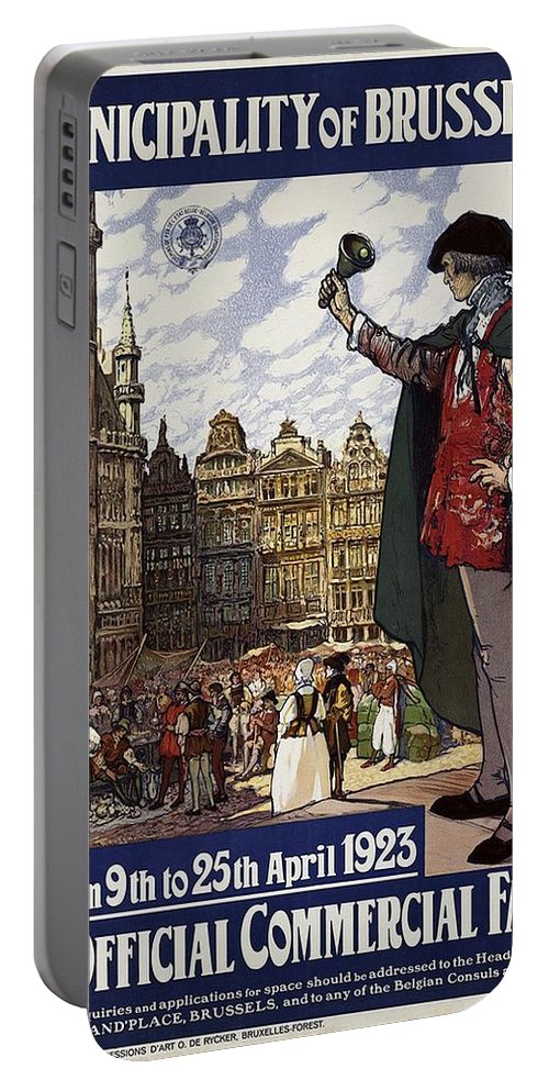 Brussels Portable Battery Charger featuring the mixed media Brussels Commercial Fair Poster - Retro Poster - Vintage Travel Advertising Poster by Studio Grafiikka