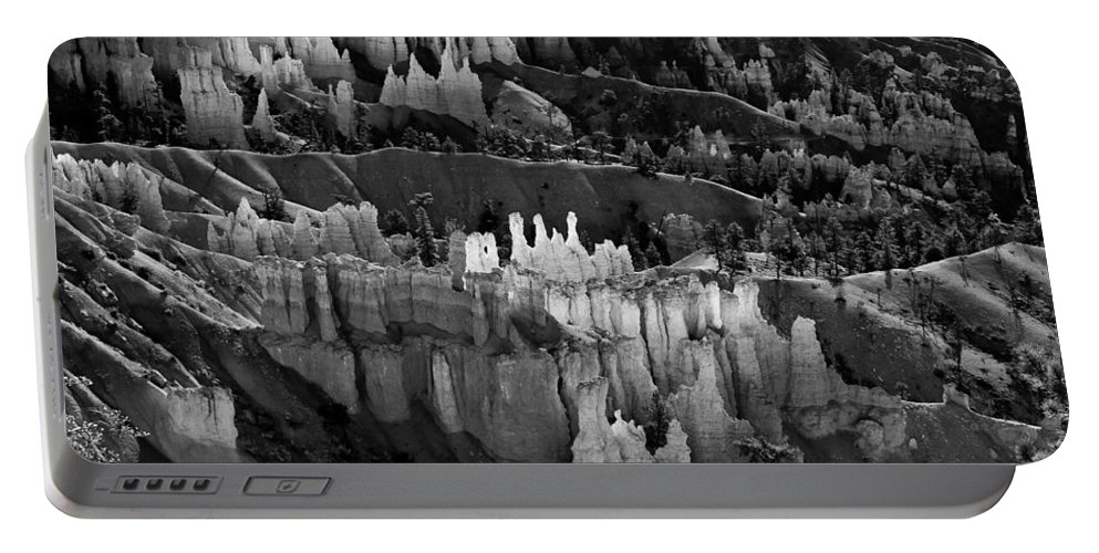 Bryce Canyon Portable Battery Charger featuring the photograph Bryce Canyon In Black And White by James BO Insogna