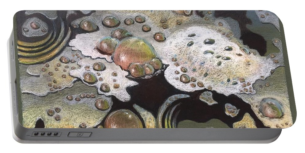 Sandra Hansen Portable Battery Charger featuring the drawing Bubble, Bubble, Toil and Trouble 2 by Art Nomad Sandra Hansen