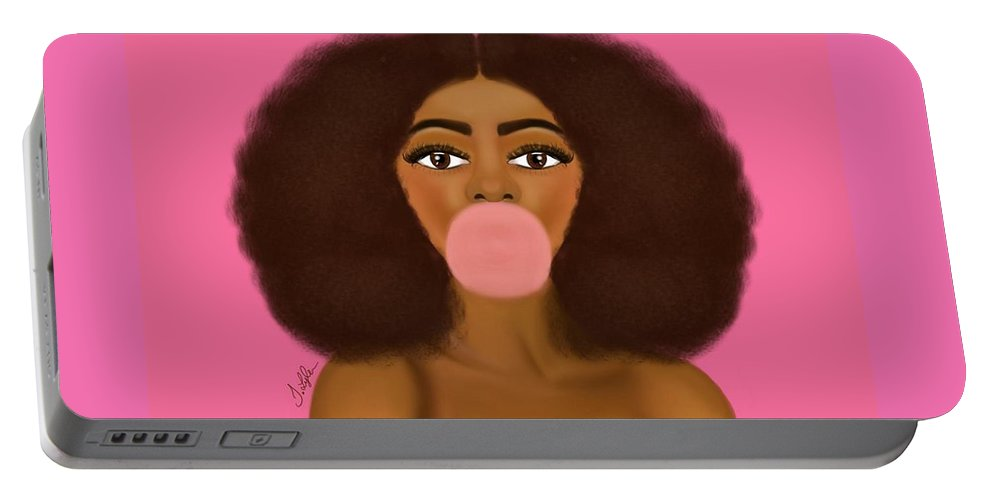 Portable Battery Charger featuring the digital art Bubble Gum Girl by T Lyle Designs