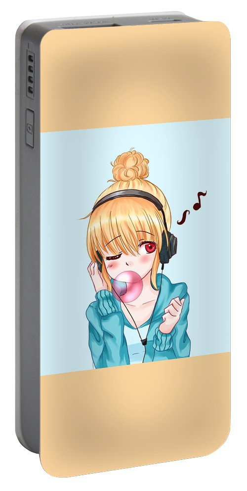 Animestyle Portable Battery Charger featuring the digital art Bubblegum Girl by Deja Savage
