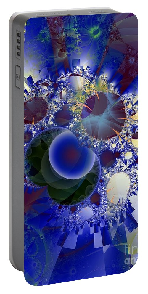 Bubbles Portable Battery Charger featuring the digital art Bubbles Concentrated by Ron Bissett