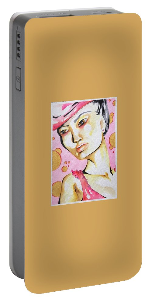 Portrait Portable Battery Charger featuring the painting Bubbles by Nicole Bresner