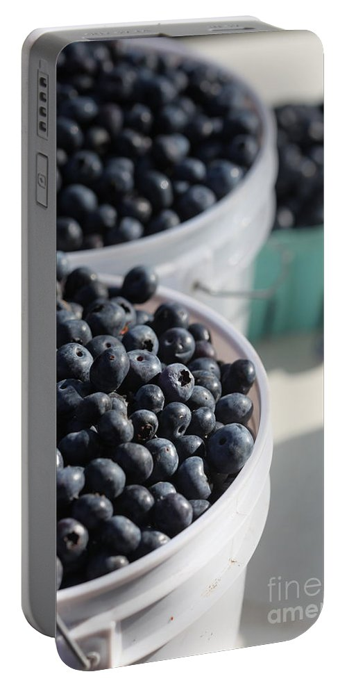 Blue Portable Battery Charger featuring the photograph Buckets Of Blue... by Nadine Rippelmeyer