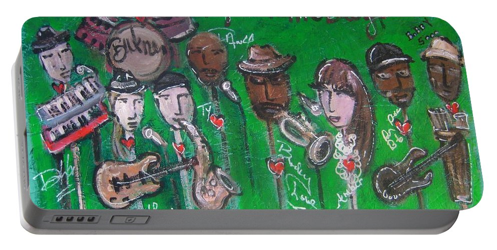 Buckner Funken Jazz Portable Battery Charger featuring the painting Buckner Funken Jazz by Laurie Maves ART