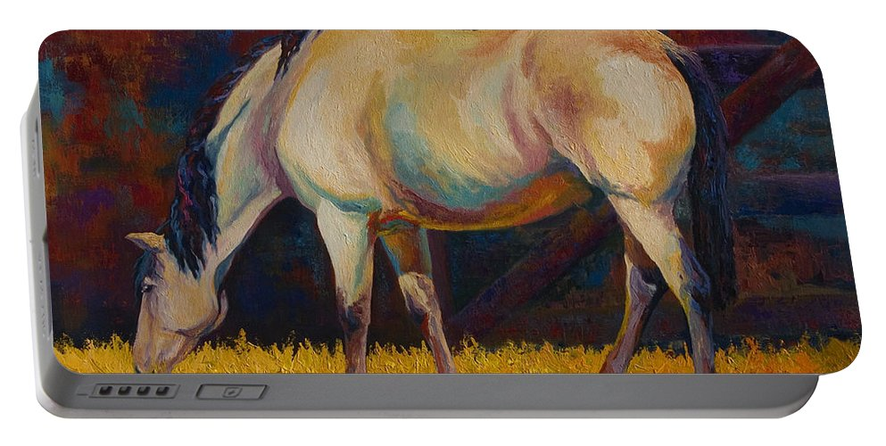 Horses Portable Battery Charger featuring the painting Buckskin by Marion Rose